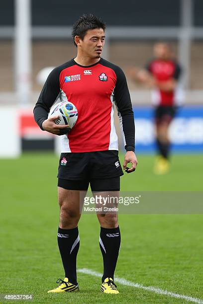 Ayumu Goromaru of Japan during the Captain's Run ahead of the Japan versus Scotland Pool B match at Kingsholm Stadium on September 22 2015 in...