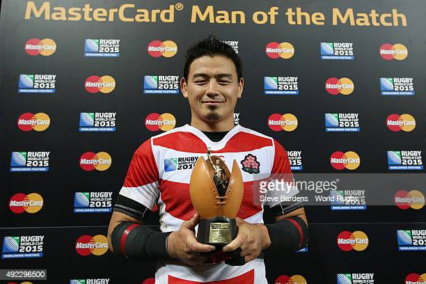 Ayumu Goromaru of Japan is presented with his Man of the match award after the 2015 Rugby World Cup Pool B match between USA and Japan at Kingsholm...