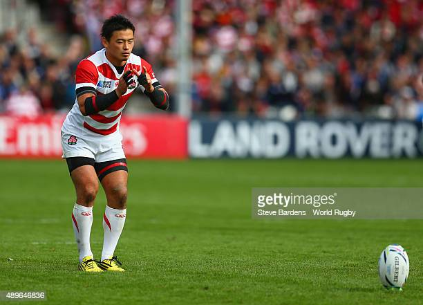 Ayumu Goromaru of Japan kicks at goal during the 2015 Rugby World Cup Pool B match between Scotland and Japan at Kingsholm Stadium on September 23...