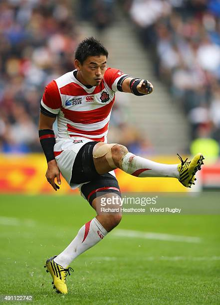 Ayumu Goromaru of Japan kicks at goal during the 2015 Rugby World Cup Pool B match between Samoa and Japan at Stadium mk on October 3 2015 in Milton...