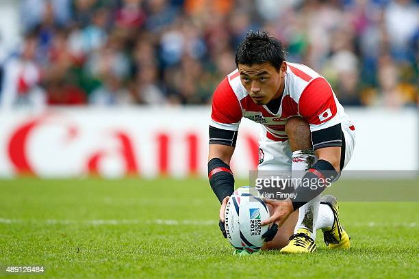 Ayumu Goromaru of Japan lines up a penalty during the 2015 Rugby World Cup Pool B match between South Africa and Japan at the Brighton Community...