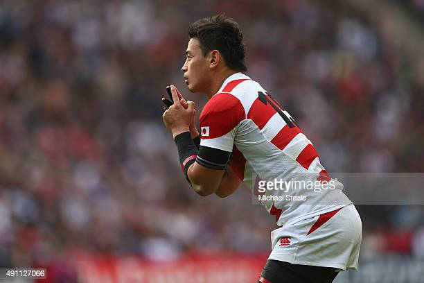 Ayumu Goromaru of Japan prepares to kick a penalty during the 2015 Rugby World Cup Pool B match between Samoa and Japan at Stadium mk on October 3...