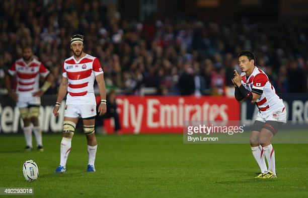 Ayumu Goromaru of Japan prepares to kick at goal during the 2015 Rugby World Cup Pool B match between USA and Japan at Kingsholm Stadium on October...
