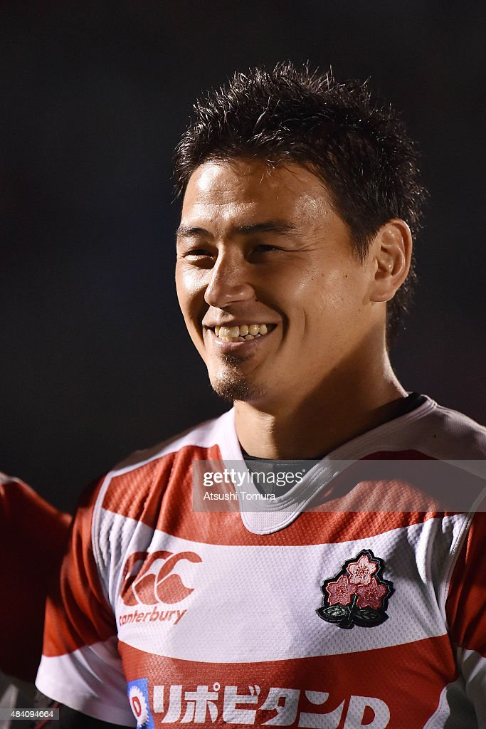<a gi-track='captionPersonalityLinkClicked' href=/galleries/search?phrase=Ayumu+Goromaru&family=editorial&specificpeople=7301515 ng-click='$event.stopPropagation()'>Ayumu Goromaru</a> of Japan smiles during the international friendly match between Japan and World 15 at Prince Chichibu Stadium on August 15, 2015 in Tokyo, Japan.