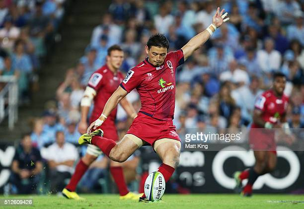 Ayumu Goromaru of the Reds kicks a penalty goal during the round one Super Rugby match between the Waratahs and the Reds at Allianz Stadium on...