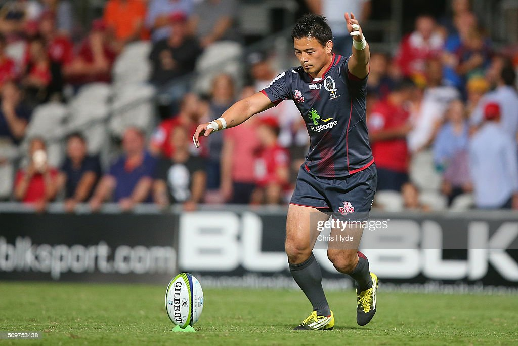 <a gi-track='captionPersonalityLinkClicked' href=/galleries/search?phrase=Ayumu+Goromaru&family=editorial&specificpeople=7301515 ng-click='$event.stopPropagation()'>Ayumu Goromaru</a> of the Reds kicks during the Super Rugby Pre-Season match between the Reds and the Brumbies at Ballymore Stadium on February 12, 2016 in Brisbane, Australia.