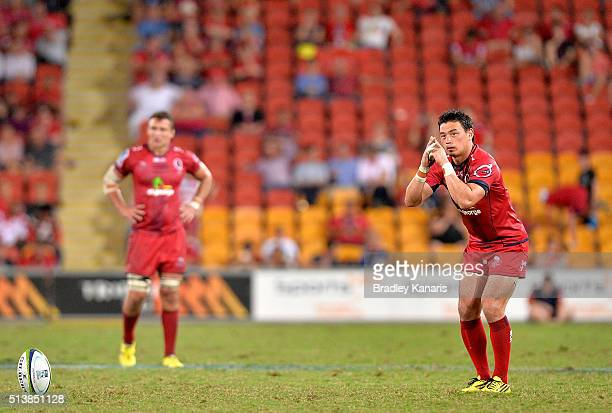 Ayumu Goromaru of the Reds lines up a kick for goal during the round two Super Rugby match between the Reds and the Force at Suncorp Stadium on March...