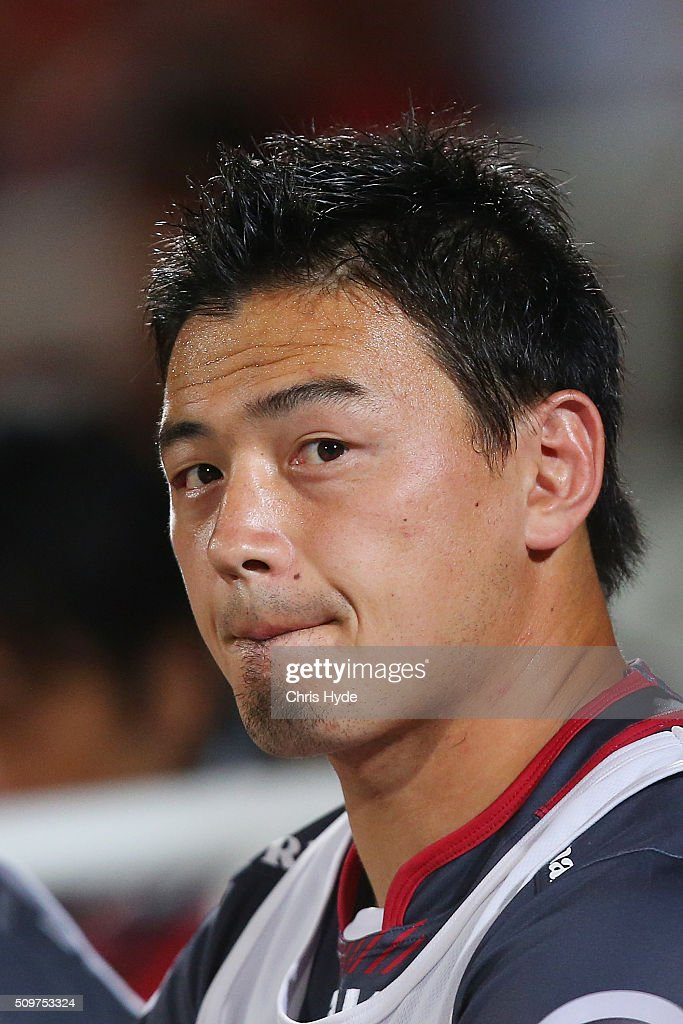 <a gi-track='captionPersonalityLinkClicked' href=/galleries/search?phrase=Ayumu+Goromaru&family=editorial&specificpeople=7301515 ng-click='$event.stopPropagation()'>Ayumu Goromaru</a> of the Reds looks on during the Super Rugby Pre-Season match between the Reds and the Brumbies at Ballymore Stadium on February 12, 2016 in Brisbane, Australia.