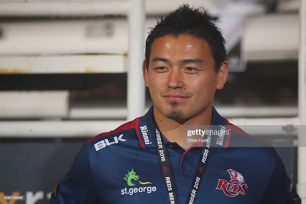 <a gi-track='captionPersonalityLinkClicked' href=/galleries/search?phrase=Ayumu+Goromaru&family=editorial&specificpeople=7301515 ng-click='$event.stopPropagation()'>Ayumu Goromaru</a> of the Reds smiles after the Super Rugby pre-season match between the Reds and the Crusaders at Ballymore Stadium on February 6, 2016 in Brisbane, Australia.
