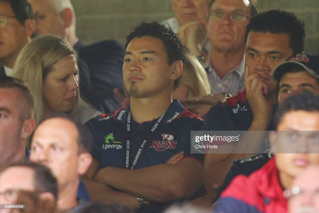 <a gi-track='captionPersonalityLinkClicked' href=/galleries/search?phrase=Ayumu+Goromaru&family=editorial&specificpeople=7301515 ng-click='$event.stopPropagation()'>Ayumu Goromaru</a> of the Reds watches from the stands during the Super Rugby pre-season match between the Reds and the Crusaders at Ballymore Stadium on February 6, 2016 in Brisbane, Australia.