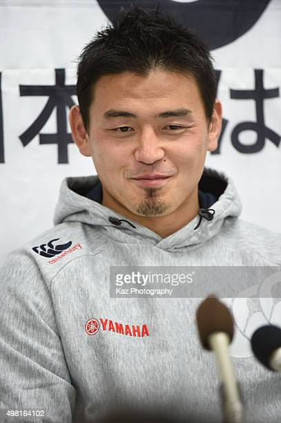 Ayumu Goromaru of Yamaha Motors at the press conference after the match during the rugby match between Yamaha Motors and Toyota Industries Shuttles...