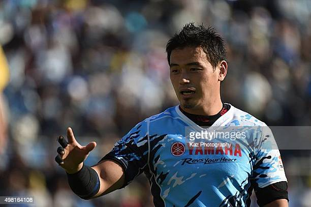 Ayumu Goromaru of Yamaha Motors demands the ball during the rugby match between Yamaha Motors and Toyota Industries Shuttles at Yamaha Stadium on...