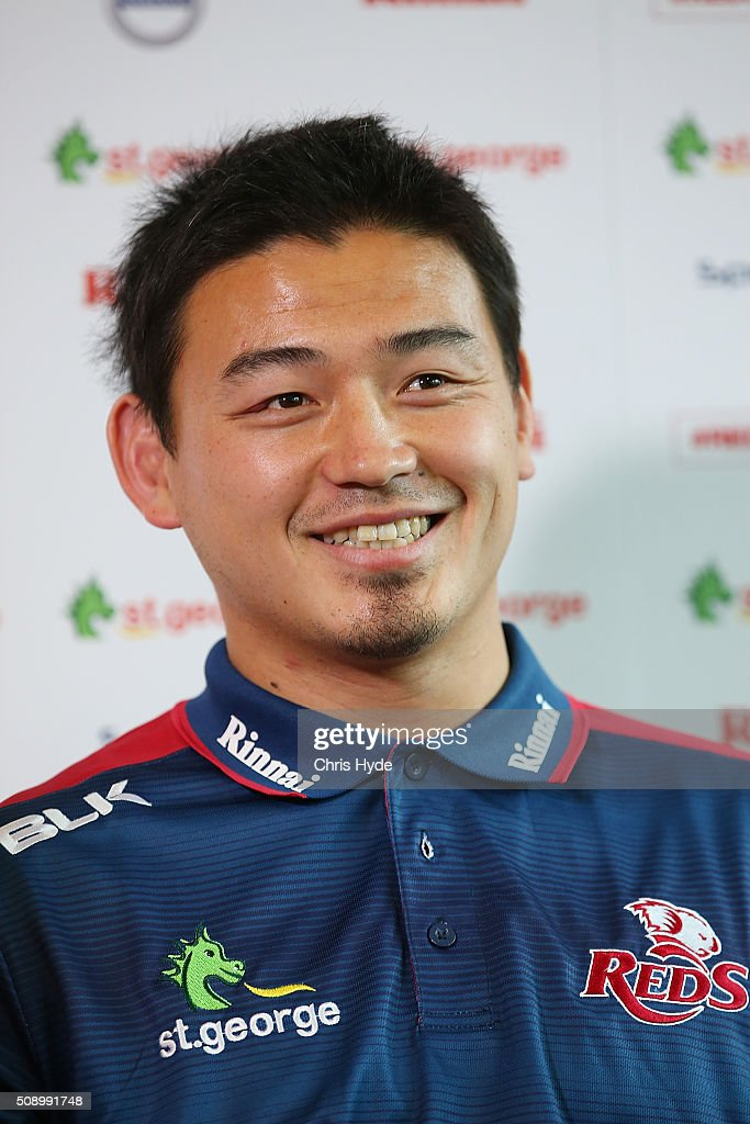 <a gi-track='captionPersonalityLinkClicked' href=/galleries/search?phrase=Ayumu+Goromaru&family=editorial&specificpeople=7301515 ng-click='$event.stopPropagation()'>Ayumu Goromaru</a> smiles while speaking to media during a Reds Super Rugby media opportunity at Ballymore Stadium on February 8, 2016 in Brisbane, Australia.