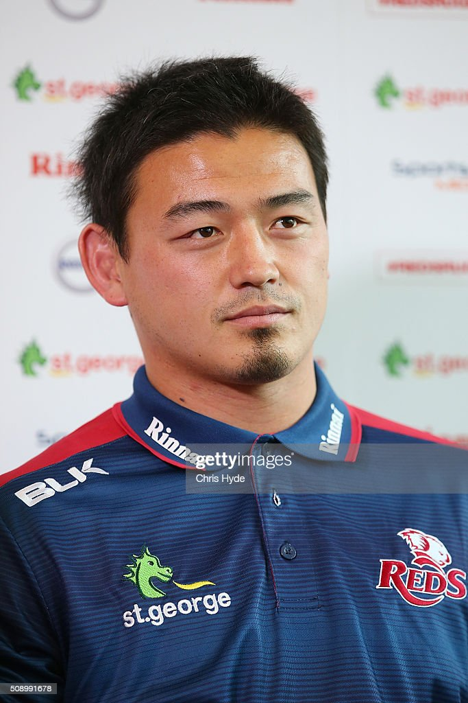 <a gi-track='captionPersonalityLinkClicked' href=/galleries/search?phrase=Ayumu+Goromaru&family=editorial&specificpeople=7301515 ng-click='$event.stopPropagation()'>Ayumu Goromaru</a> speaks to media during a Reds Super Rugby media opportunity at Ballymore Stadium on February 8, 2016 in Brisbane, Australia.