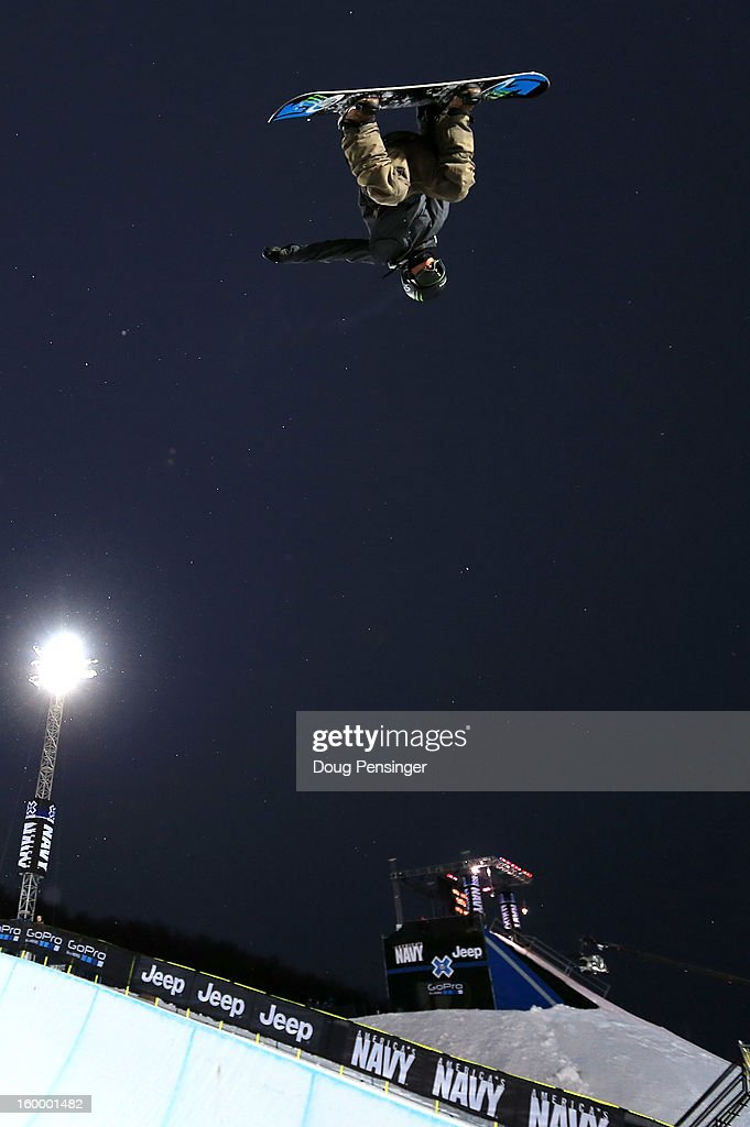 Ayumu Hirano of Japan does a backside air above the halfpipe during practice for the Men's Snowboard Superpipe Elimination at Winter X Games Aspen 2013 at Buttermilk Mountain on January 24, 2013 in Aspen, Colorado.