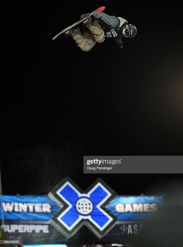 Ayumu Hirano of Japan soars above the crowd as he took second place in the Men's Snowboard Superpipe Final at Winter X Games Aspen 2013 at Buttermilk Mountain on January 27, 2013 in Aspen, Colorado.