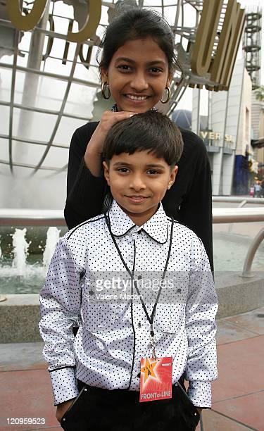 Ayush Mahesh Khedekar and Tanvi Ganesh Lonkar of 'Slumdog Millionaire' visit Universal Studios on February 21 2009 in Universal City California