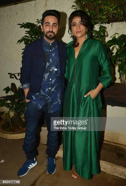 Ayushmann Khurrana and Tahira Kashyap during the special screening of Bareilly Ki Barfi in Mumbai