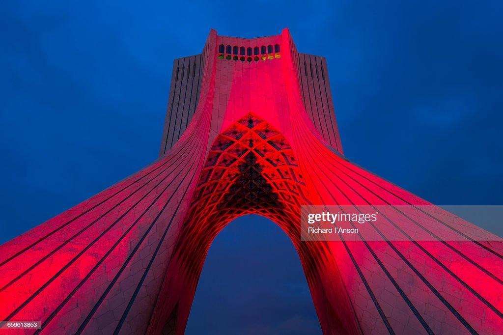 Azadi Tower at dusk