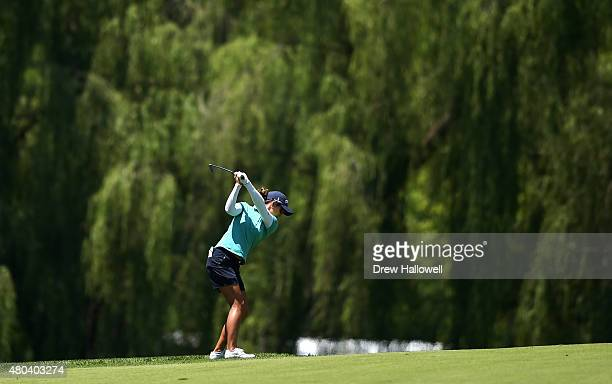 Azahara Munos of Spain hits her a shot on the fifth hole during the third round of the US Women's Open at Lancaster Country Club on July 11 2015 in...