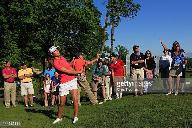 Azahara Munoz of Spain hits a shot on the 16th hole during the championship match against Candie Kung of Taiwan at the Sybase Match Play Championship...