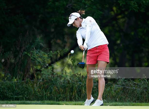 Azahara Munoz of Spain hits her drive on the eighth hole during the second round of the Meijer LPGA Classic presented by Kraft at Blythefield Country...
