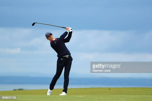Azahara Munoz of Spain hits her second shot on the 4th hole during the final round of the Ricoh Women's British Open at Kingsbarns Golf Links on...