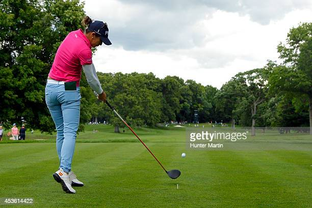 Azahara Munoz of Spain hits her tee shot on the 14th hole during the first round of the Wegmans LPGA Championship at Monroe Golf Club on August 14...