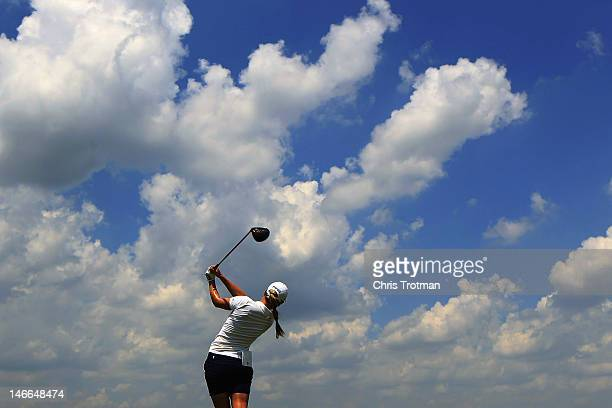 Azahara Munoz of Spain hits her tee shot on the 14th hole of the first round in the Manulife Financial LPGA Classic at Grey Silo Golf Course on June...