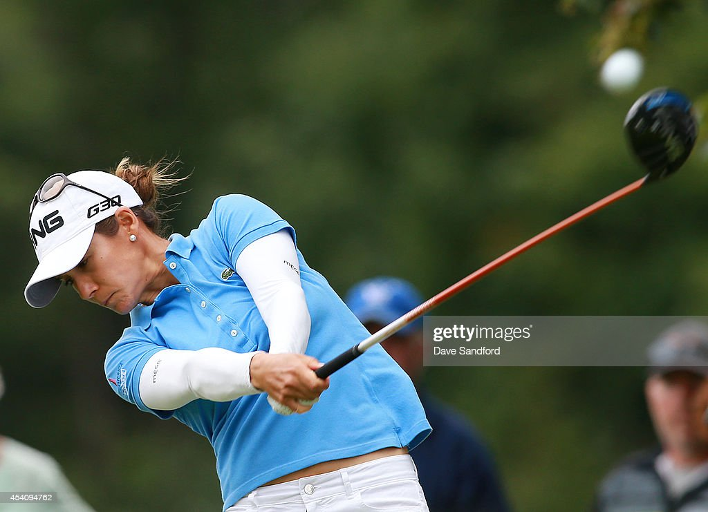 <a gi-track='captionPersonalityLinkClicked' href=/galleries/search?phrase=Azahara+Munoz&family=editorial&specificpeople=2259549 ng-click='$event.stopPropagation()'>Azahara Munoz</a> of Spain hits her tee shot on the 5th hole during the fourth round of the LPGA Canadian Pacific Women's Open at the London Hunt and Country Club on August 24, 2014 in London, Ontario, Canada.