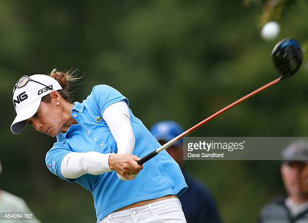 Azahara Munoz of Spain hits her tee shot on the 5th hole during the fourth round of the LPGA Canadian Pacific Women's Open at the London Hunt and...