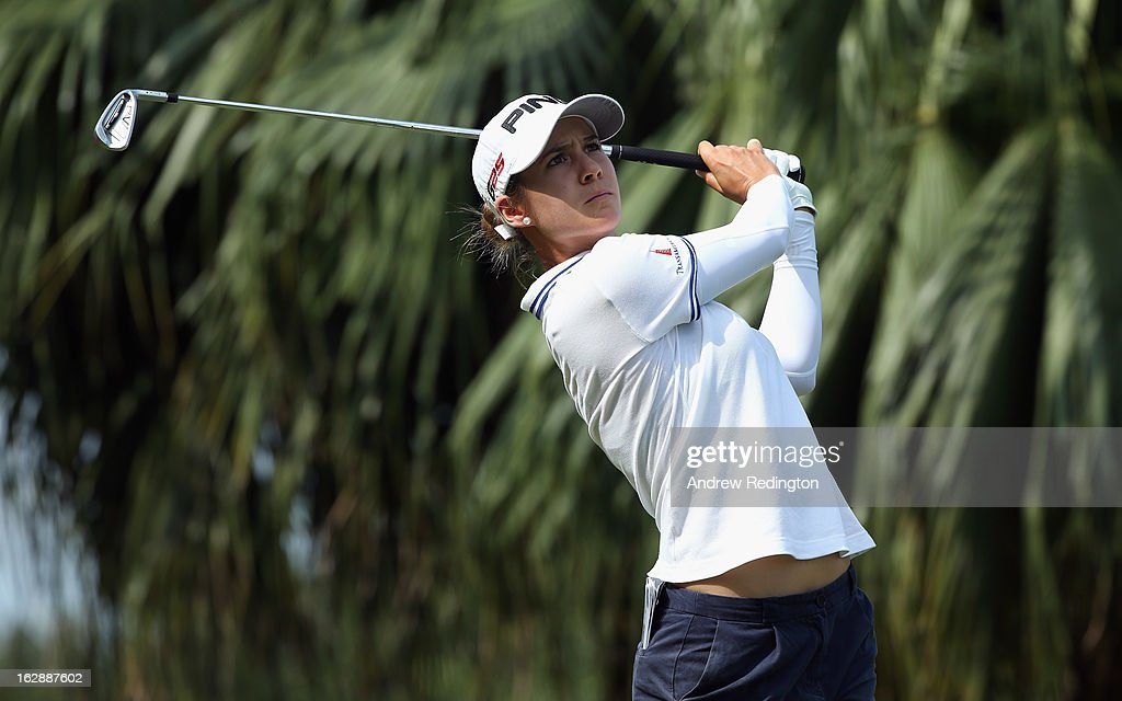 Azahara Munoz of Spain hits her tee-shot on the second hole during the second round of the HSBC Women's Champions at the Sentosa Golf Club on March 1, 2013 in Singapore, Singapore.