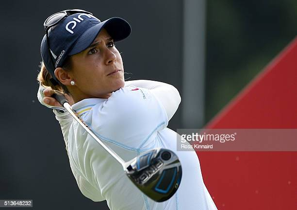 Azahara Munoz of Spain in action during the second round of the HSBC Women's Champions at the Sentosa Golf Club on March 4 2016 in Singapore Singapore