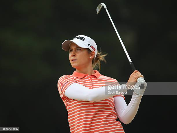 Azahara Munoz of Spain plays an approach shot during the second round of the ISPS Handa Women's Australian Open at The Victoria Golf Club on February...