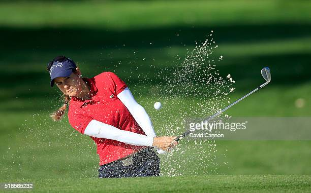 Azahara Munoz of Spain plays her third shot on the par 4 12th hole during the second round of the 2016 ANA Inspiration at the Mission Hills Country...