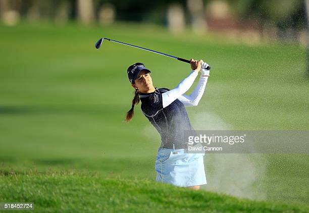 Azahara Munoz of Spain plays her third shot on the par 5 18th hole during the first round of the 2016 ANA Inspiration at Mission Hills Country Club...