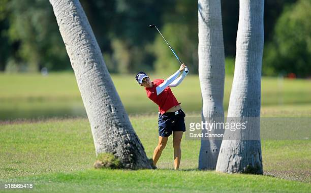 Azahara Munoz of Spain plays her third shot on the par 5 18th hole during the second round of the 2016 ANA Inspiration at the Mission Hills Country...