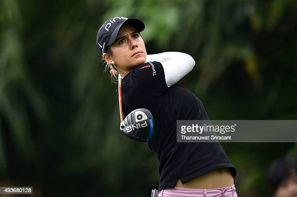 Azahara Munoz of Spain plays the shot during the round one of 2015 Fubon LPGA Taiwan Championship at Miramar Resort Country Club on October 22 2015...