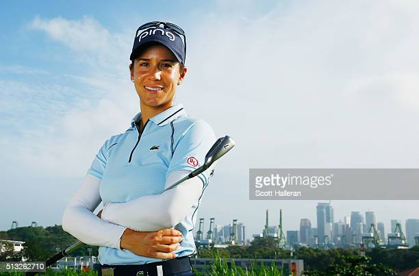 Azahara Munoz of Spain poses during the proam prior to the start of the HSBC Women's Champions at Sentosa Golf Club on March 2 2016 in Singapore