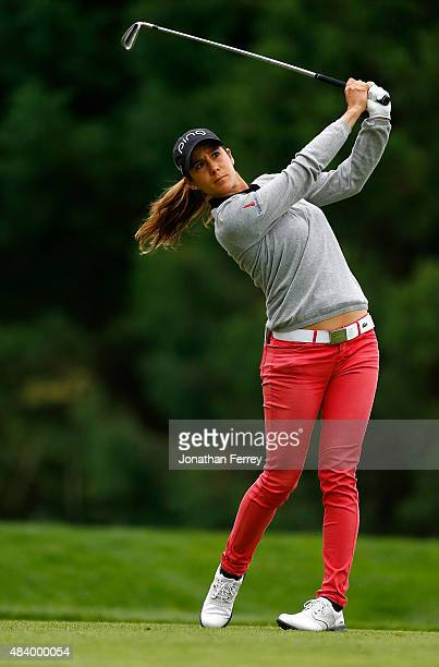 Azahara Munoz of Spain tees off on the 2nd hole during the second round of the LPGA Cambia Portland Classic at Columbia Edgewater Country Club on...