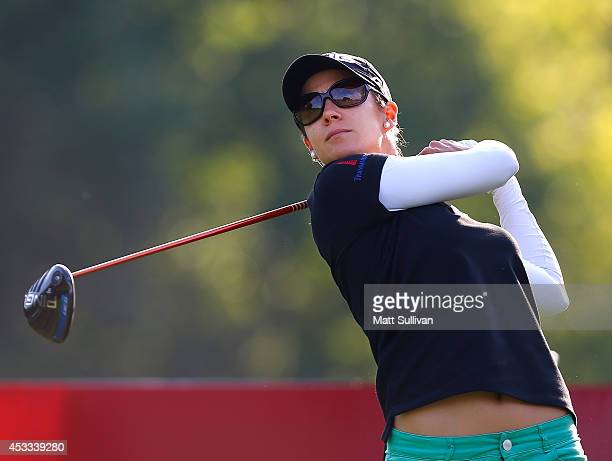 Azahara Munoz of Spain watches her tee shot on the 11th hole during the second round of the Meijer LPGA Classic at Blythefield Country Club on August...