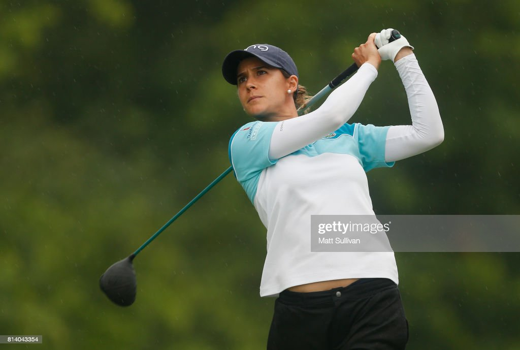 Azahara Munoz of Spain watches her tee shot on the 15th hole during the first round of the U.S. Women's Open Championship at Trump National Golf Course on July 13, 2017 in Bedminster, New Jersey.