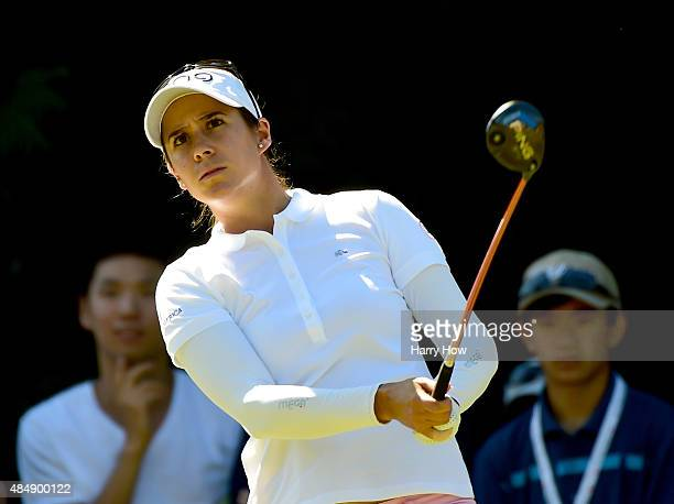 Azahara Munoz of Spain watches her tee shot on the fifth hole during the third round of the Canadian Pacific Women's Open at the Vancouver Golf Club...