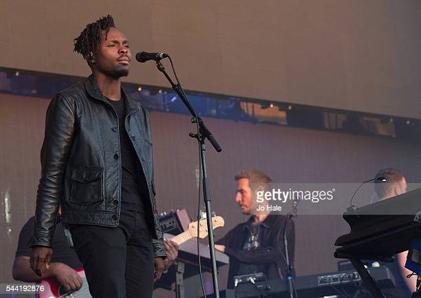 Azakel and Robert Del Naja performs on stage with Massive Attack as part of the Barclaycard Presents British Summer Time Hyde Park Day 1 at Hyde Park...