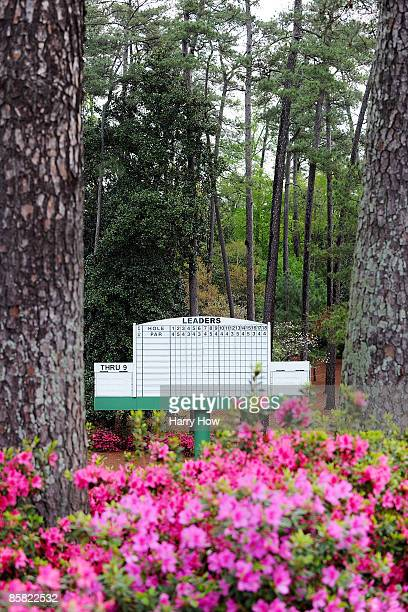 Azaleas bloom in front of a leaderboard during a practice round prior to the 2009 Masters Tournament at Augusta National Golf Club on April 6 2009 in...