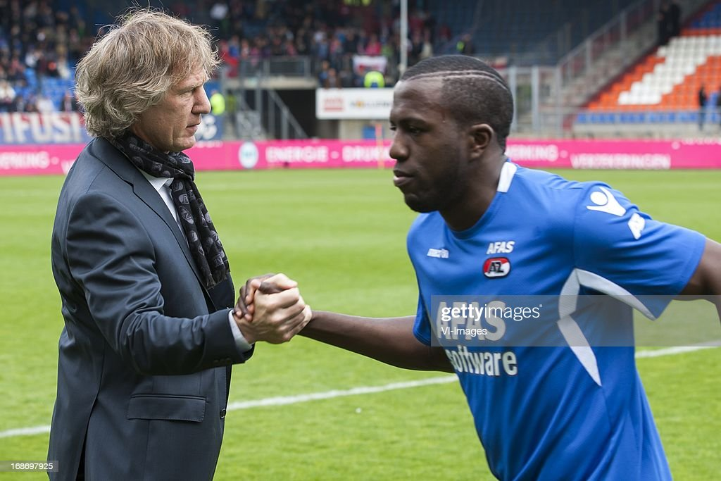azcoach Gert Jan Verbeek of AZ, Jozy Altidore of AZ during the Dutch Eredivisie match between Willem II and AZ Alkmaar on May 12, 2013 at the Koning Willem II stadium in Tilburg, The Netherlands.