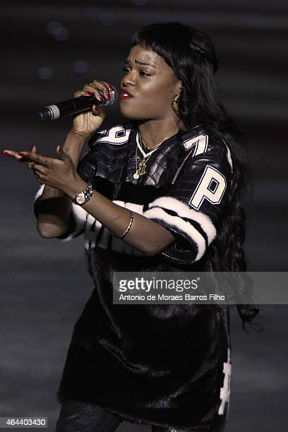 Azealia Banks performs at the runway at the Philipp Plein show during the Milan Fashion Week Autumn/Winter 2015 on February 25 2015 in Milan Italy