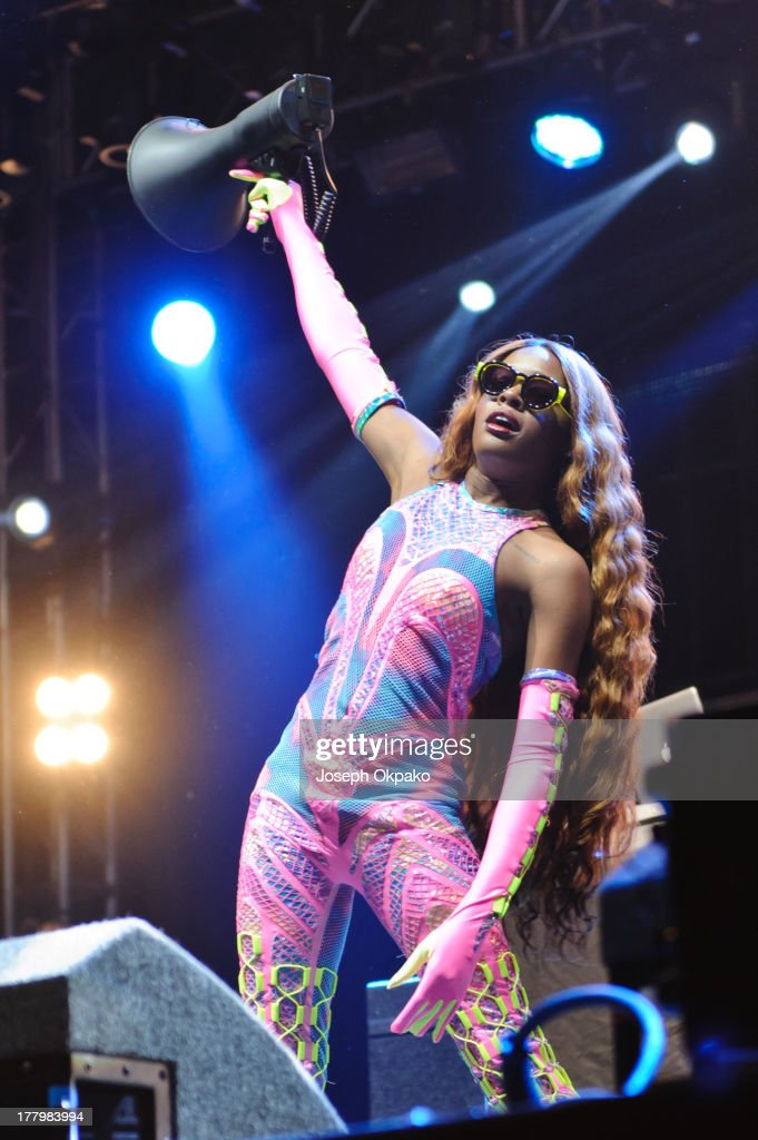 <a gi-track='captionPersonalityLinkClicked' href=/galleries/search?phrase=Azealia+Banks&family=editorial&specificpeople=8607708 ng-click='$event.stopPropagation()'>Azealia Banks</a> performs on stage on Day 3 of Reading Festival 2013 at Richfield Avenue on August 25, 2013 in Reading, England.