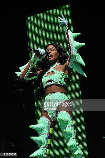 Azealia Banks performs on the Other stage during day 3 of the 2013 Glastonbury Festival at Worthy Farm on June 29 2013 in Glastonbury England