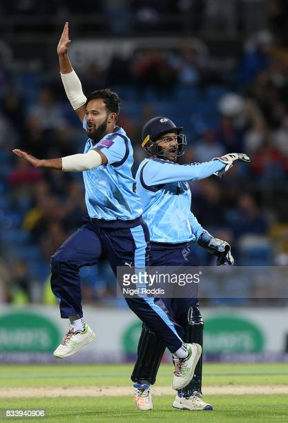 Azeem Rafiq of Yorkshire Vikings celebrates taking the wicket of Adam Rossington of Northamptonshire Steelbacks during the NatWest T20 Blast at...